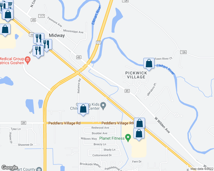 map of restaurants, bars, coffee shops, grocery stores, and more near 21638 County Road 45 in Goshen