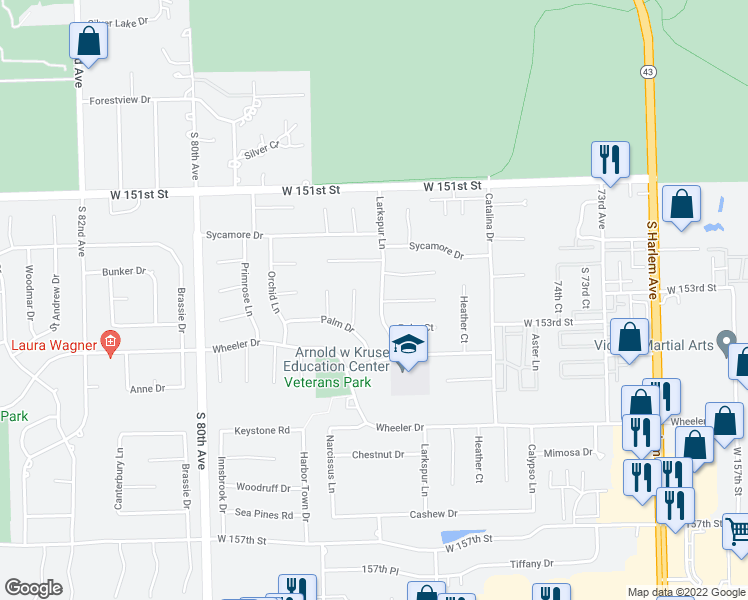 map of restaurants, bars, coffee shops, grocery stores, and more near 15300 Larkspur Lane in Orland Park