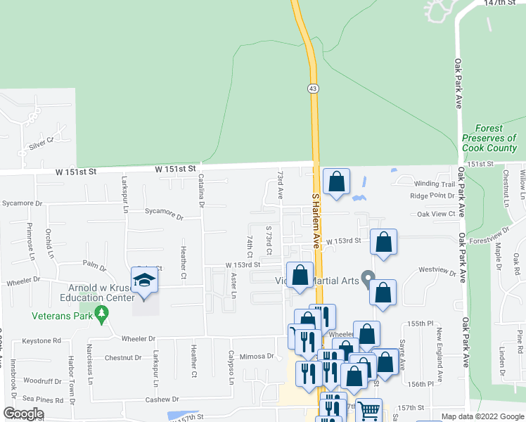 map of restaurants, bars, coffee shops, grocery stores, and more near 7317 Paradise Lane in Orland Park