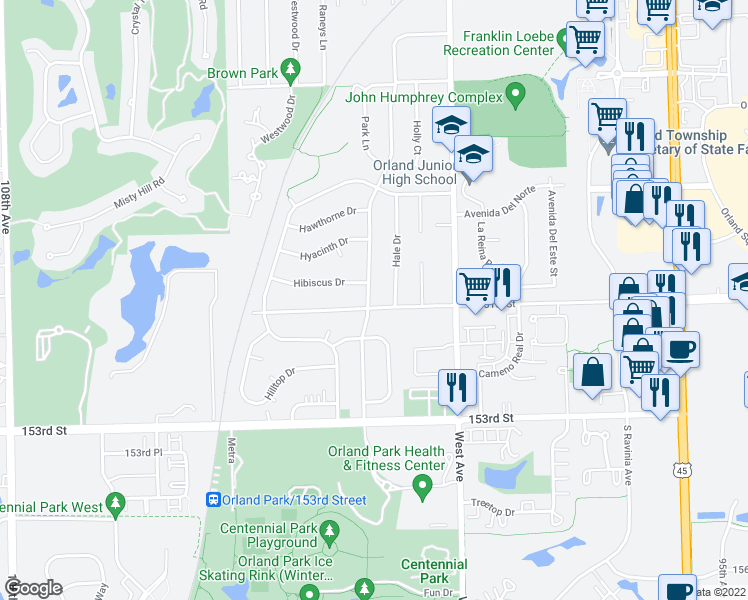 map of restaurants, bars, coffee shops, grocery stores, and more near 15059 Highland Avenue in Orland Park