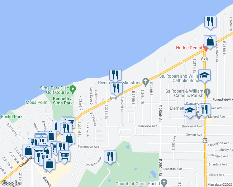 map of restaurants, bars, coffee shops, grocery stores, and more near 23951 Lakeshore Boulevard in Euclid