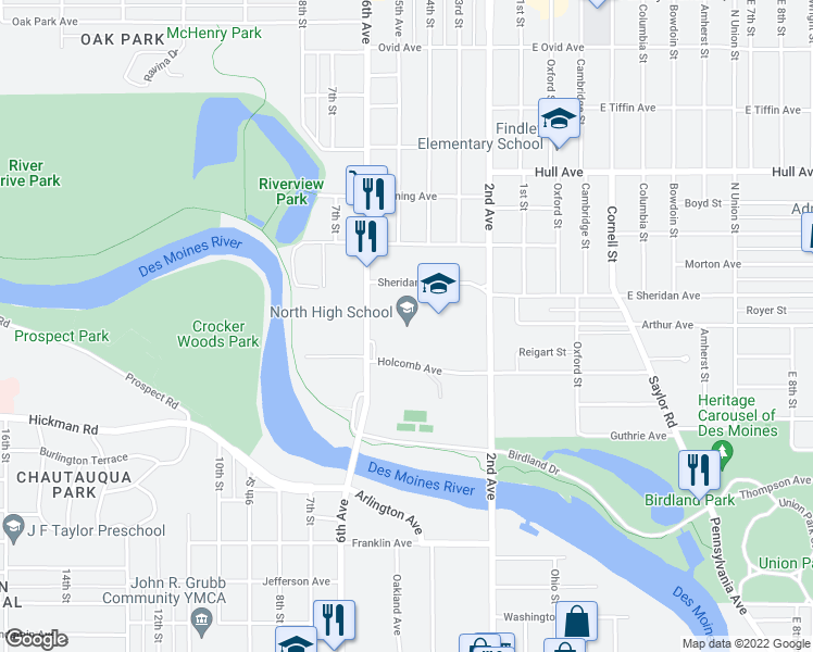 map of restaurants, bars, coffee shops, grocery stores, and more near 501 Holcomb Avenue in Des Moines