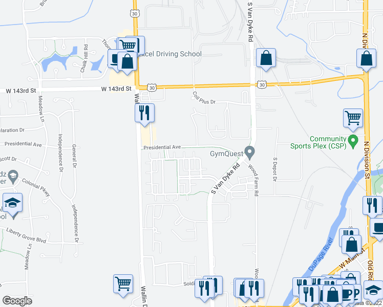 map of restaurants, bars, coffee shops, grocery stores, and more near 24614 George Washington Drive in Plainfield