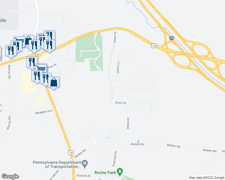 map of restaurants, bars, coffee shops, grocery stores, and more near 11603-11678 North Dawn Drive in Meadville