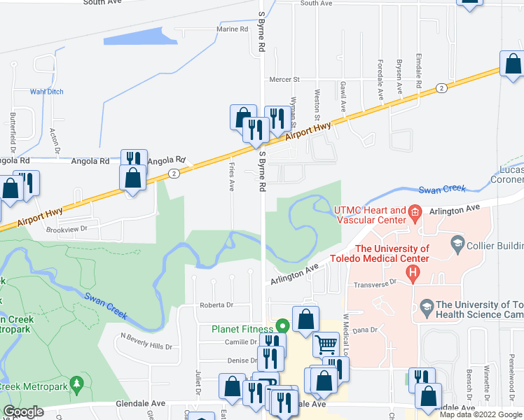 map of restaurants, bars, coffee shops, grocery stores, and more near 970 South Byrne Road in Toledo