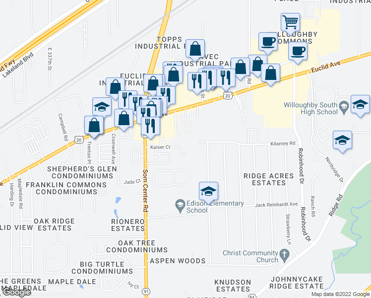 map of restaurants, bars, coffee shops, grocery stores, and more near 35300 Kaiser Court in Willoughby