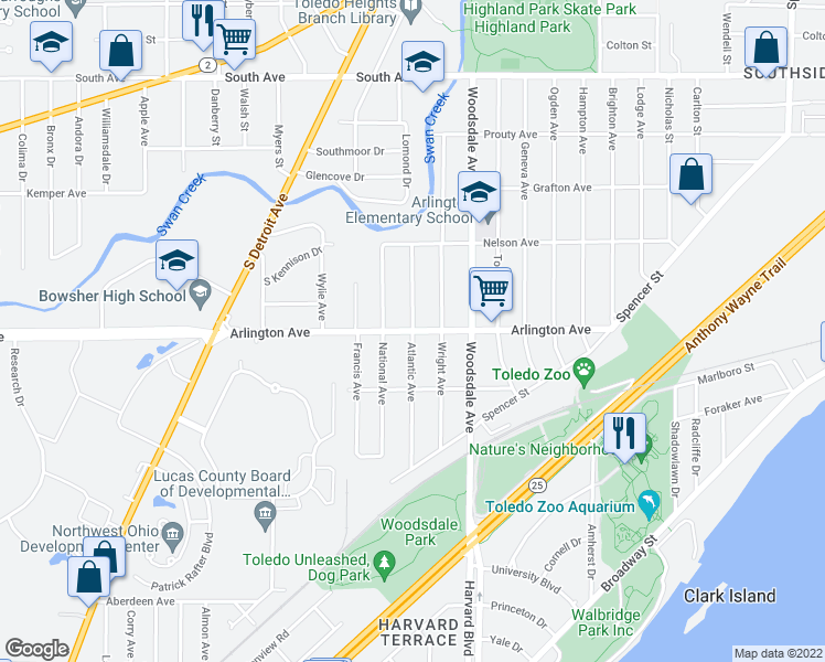 map of restaurants, bars, coffee shops, grocery stores, and more near Arlington Ave & Atlantic Ave in Toledo