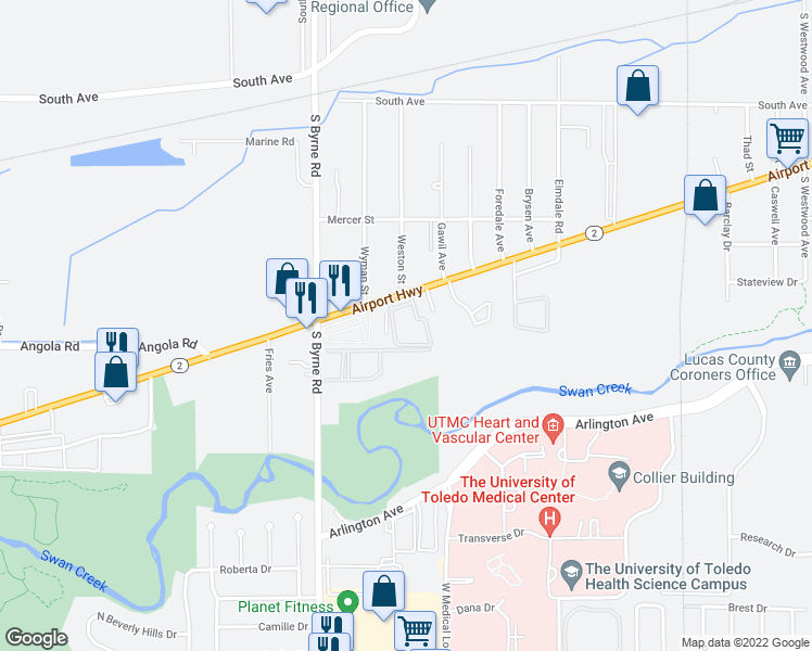 map of restaurants, bars, coffee shops, grocery stores, and more near 3349 Airport Highway in Toledo