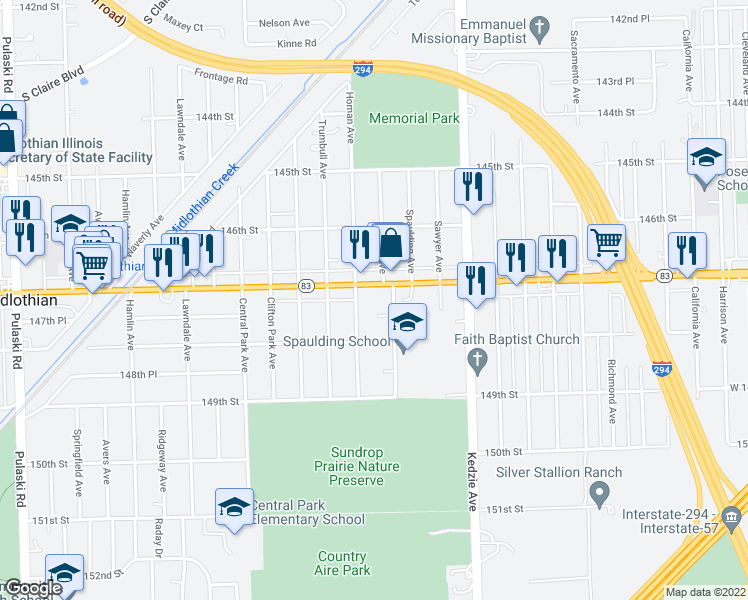 map of restaurants, bars, coffee shops, grocery stores, and more near 3341 147th Street in Midlothian