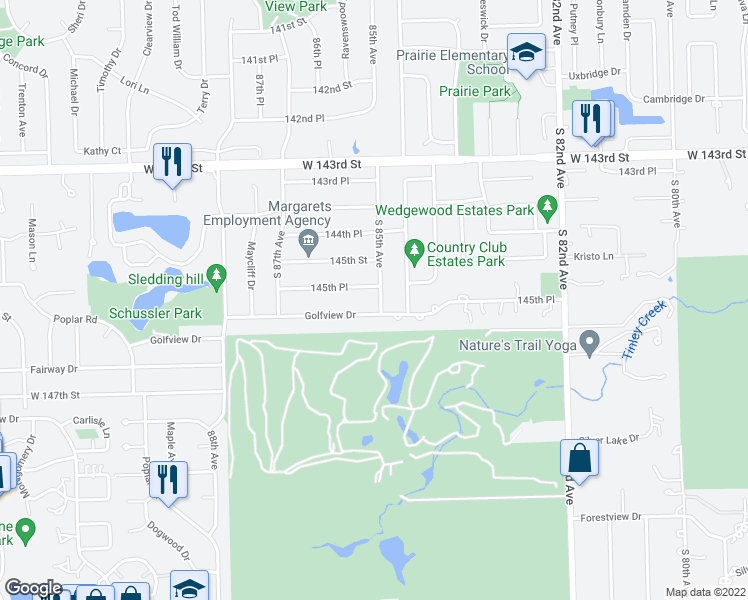 map of restaurants, bars, coffee shops, grocery stores, and more near 14548 South 85th Avenue in Orland Park