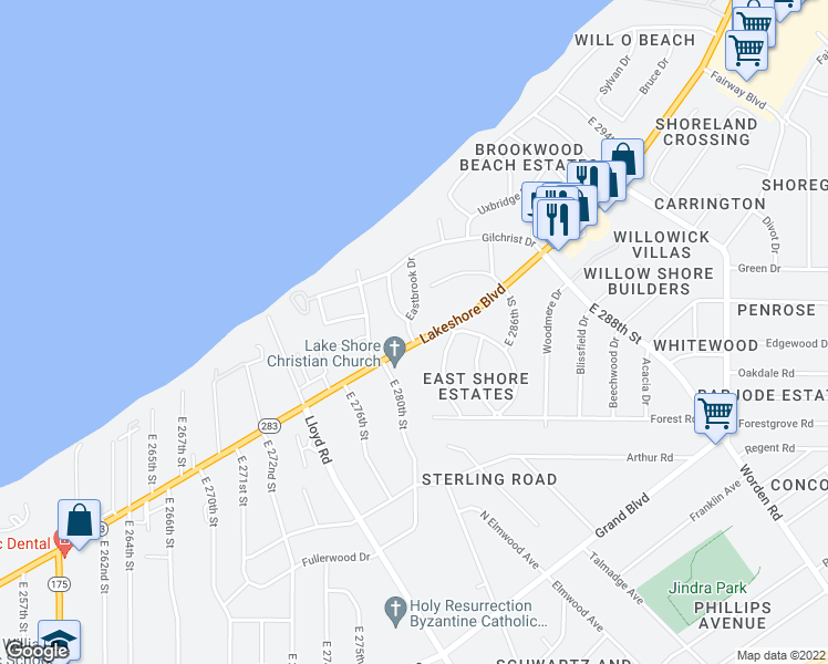 map of restaurants, bars, coffee shops, grocery stores, and more near 28201 Lakeshore Boulevard in Euclid