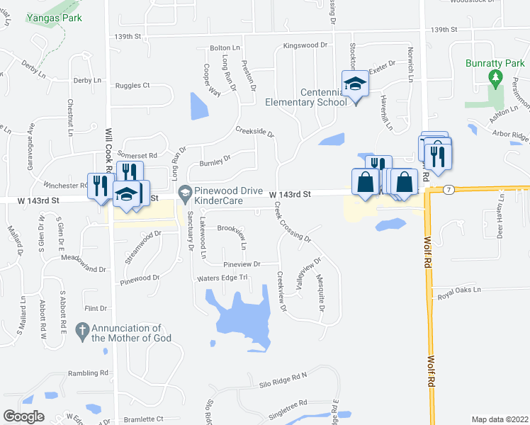 map of restaurants, bars, coffee shops, grocery stores, and more near 11607 Glenview Drive in Orland Park