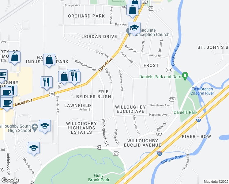 map of restaurants, bars, coffee shops, grocery stores, and more near 4709 Highland Drive in Willoughby
