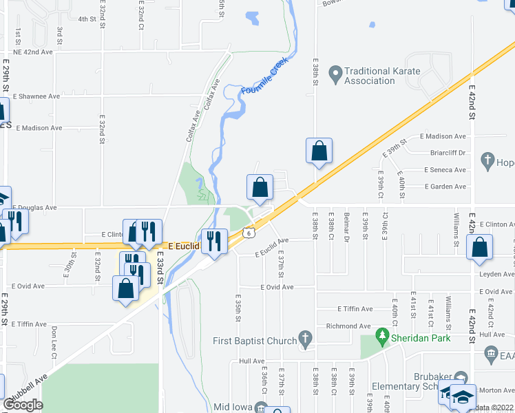 map of restaurants, bars, coffee shops, grocery stores, and more near 3523-3531 East Douglas Avenue in Des Moines