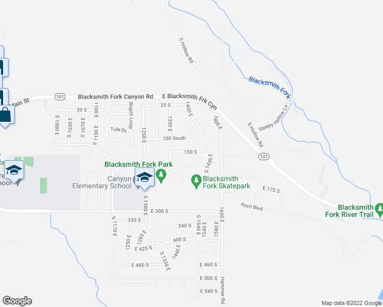 map of restaurants, bars, coffee shops, grocery stores, and more near 1394 150 South in Hyrum