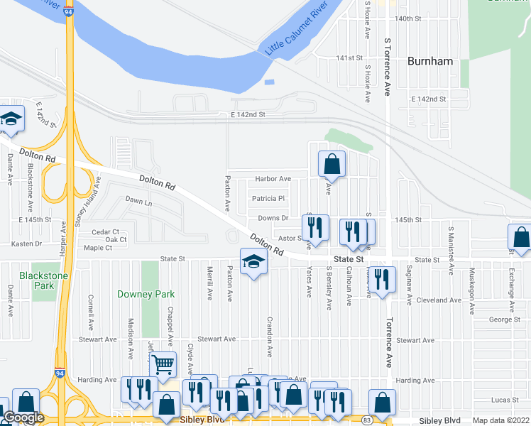 map of restaurants, bars, coffee shops, grocery stores, and more near 1666 Downs Drive in Calumet City
