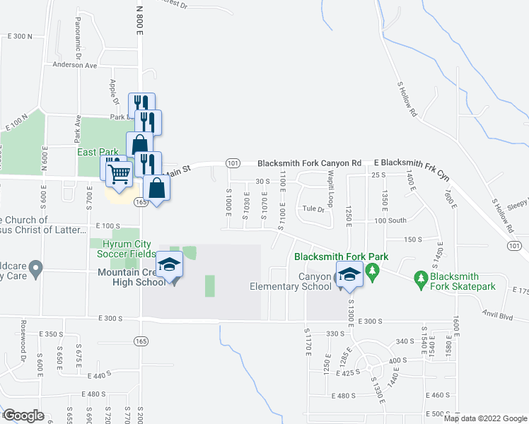 map of restaurants, bars, coffee shops, grocery stores, and more near South 1070 East in Hyrum