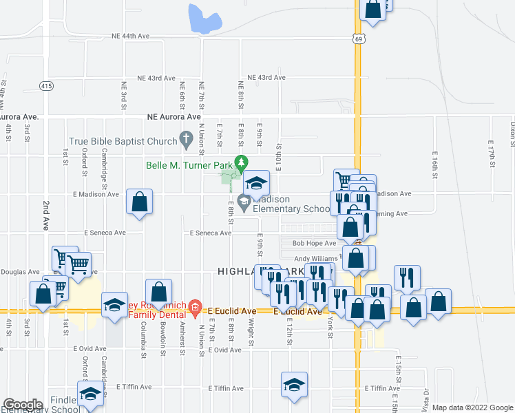 map of restaurants, bars, coffee shops, grocery stores, and more near 806 Hoffman Avenue in Des Moines