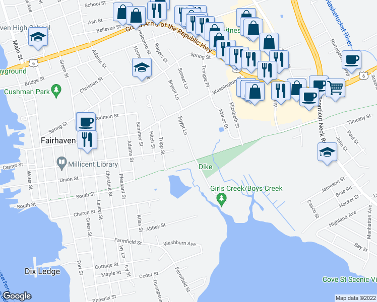 map of restaurants, bars, coffee shops, grocery stores, and more near 24 Egypt Lane in Fairhaven