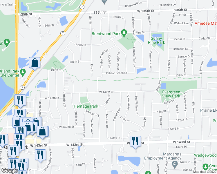 map of restaurants, bars, coffee shops, grocery stores, and more near 9032 West 140th Street in Orland Park