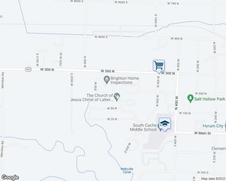 map of restaurants, bars, coffee shops, grocery stores, and more near North 750 West in Hyrum