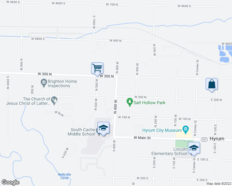 map of restaurants, bars, coffee shops, grocery stores, and more near 199 North 400 West in Hyrum