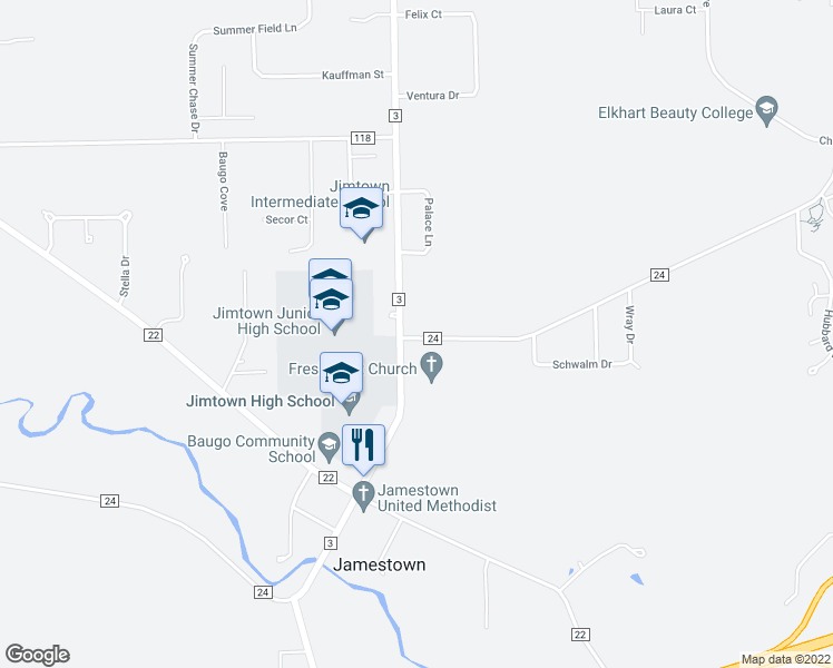 map of restaurants, bars, coffee shops, grocery stores, and more near 28975 County Road 24 in Elkhart