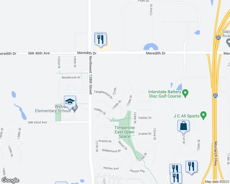 map of restaurants, bars, coffee shops, grocery stores, and more near 127th in Urbandale
