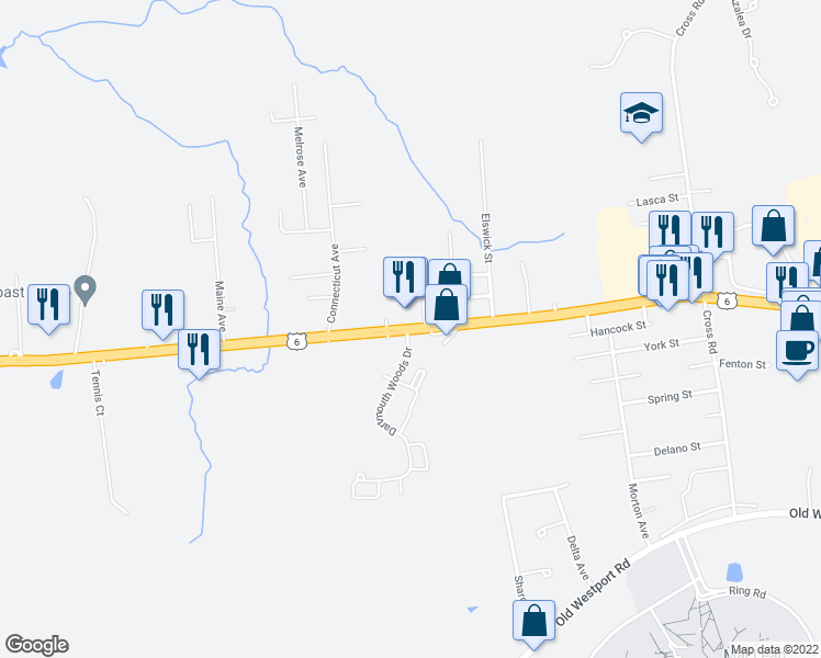 map of restaurants, bars, coffee shops, grocery stores, and more near 629 State Road in Dartmouth