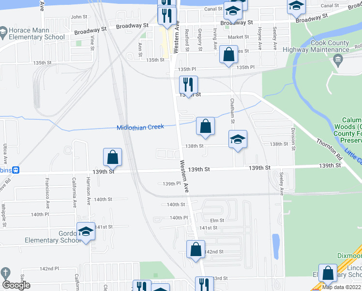 map of restaurants, bars, coffee shops, grocery stores, and more near 13749 Western Avenue in Blue Island