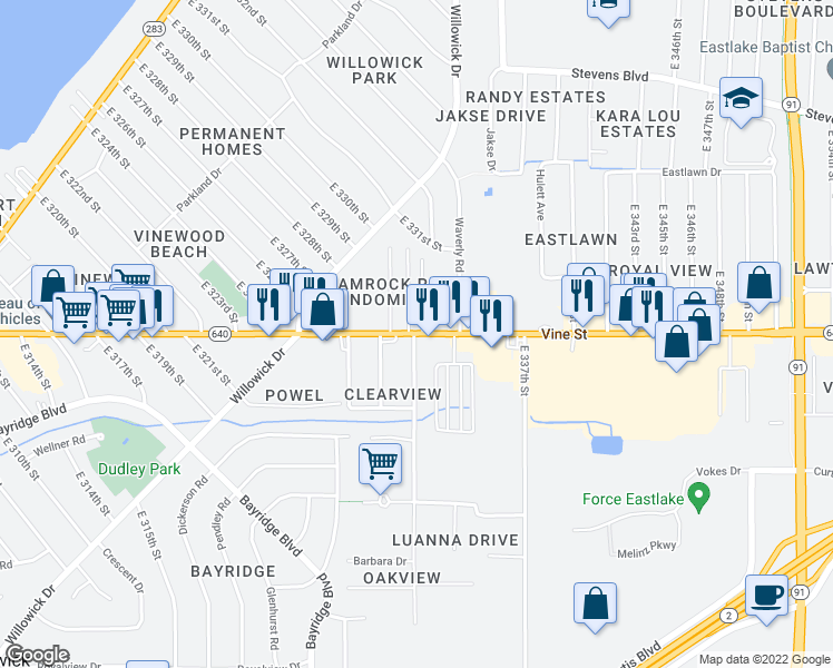 map of restaurants, bars, coffee shops, grocery stores, and more near 33005-33145 Vine Street in Eastlake