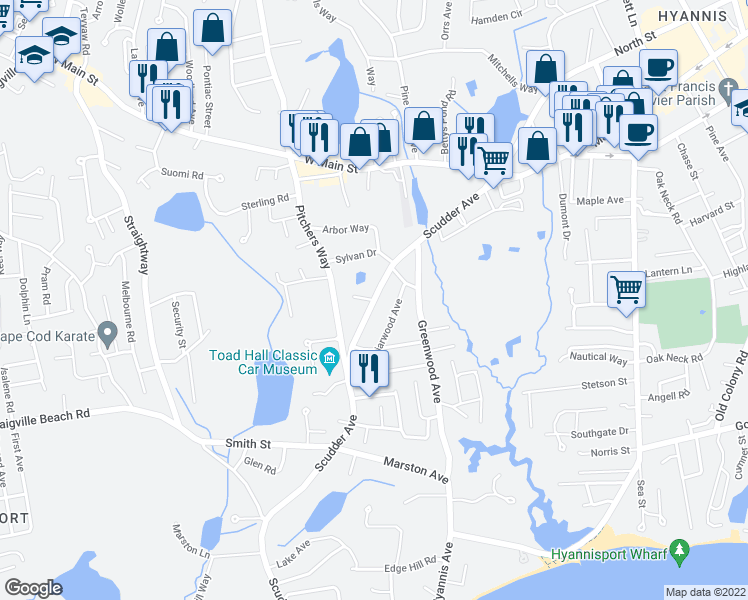 map of restaurants, bars, coffee shops, grocery stores, and more near 204-230 Scudder Avenue in Barnstable