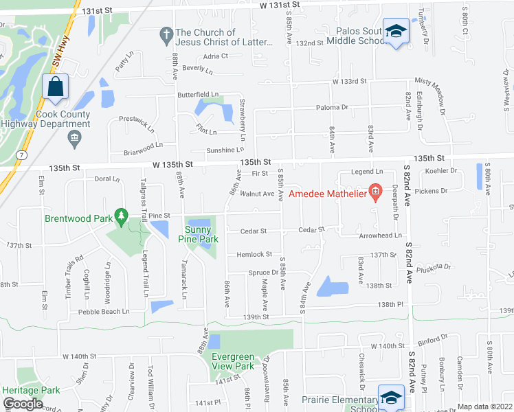 map of restaurants, bars, coffee shops, grocery stores, and more near 8544 Pine Street in Orland Park
