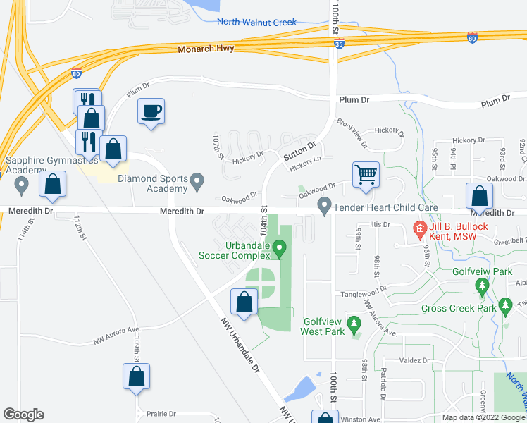 map of restaurants, bars, coffee shops, grocery stores, and more near Meredith Dr & 104th St in Urbandale