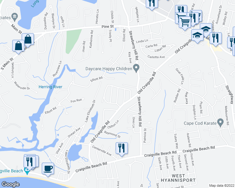 map of restaurants, bars, coffee shops, grocery stores, and more near Harbor Hills Road in Barnstable