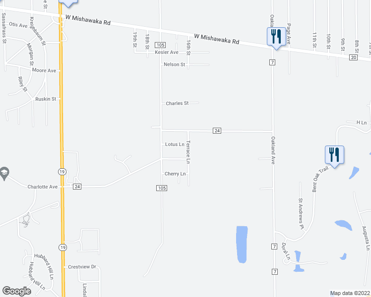 map of restaurants, bars, coffee shops, grocery stores, and more near 27400 Lotus Lane in Elkhart