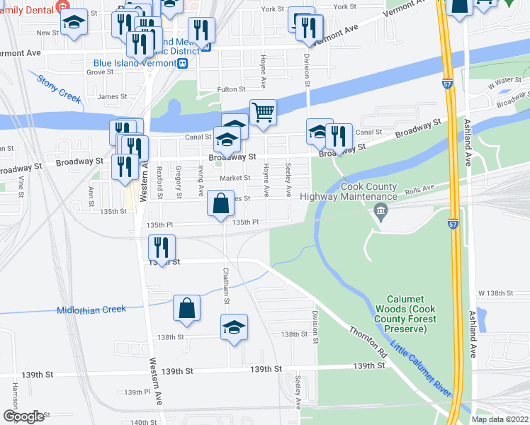 map of restaurants, bars, coffee shops, grocery stores, and more near 2105 135th Place in Blue Island