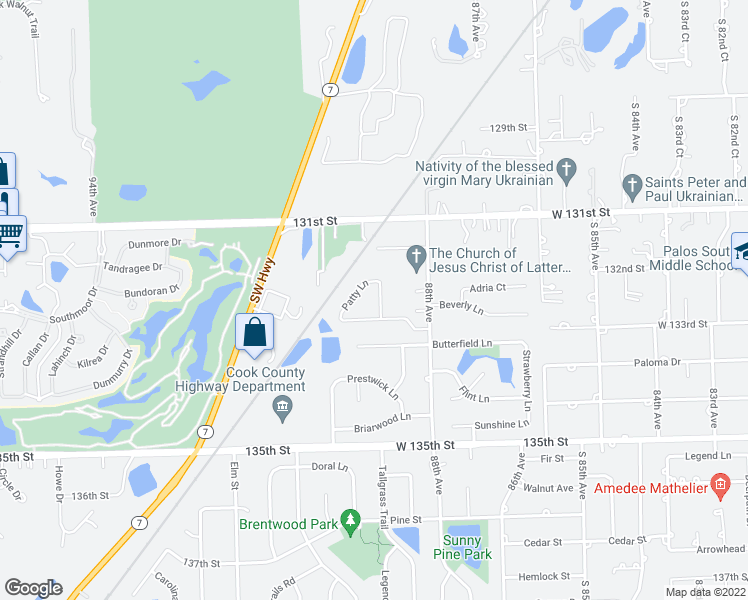 map of restaurants, bars, coffee shops, grocery stores, and more near 13238 Jean Creek Drive in Orland Park