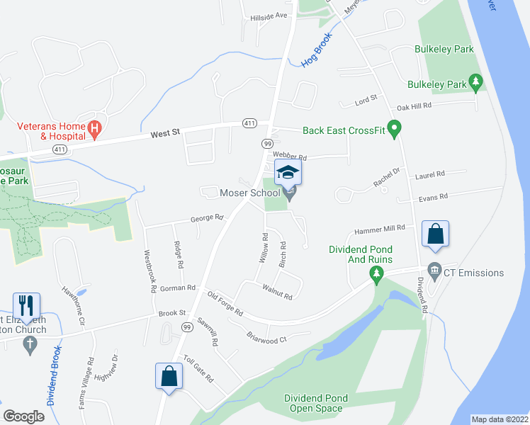 map of restaurants, bars, coffee shops, grocery stores, and more near 51-99 School Street in Rocky Hill
