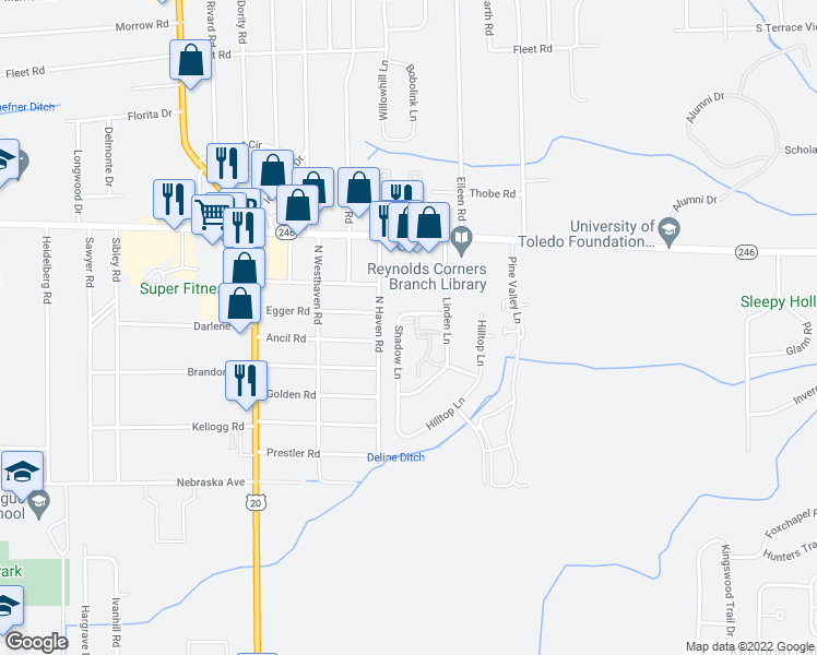 map of restaurants, bars, coffee shops, grocery stores, and more near 1140 Shadow Lane in Toledo
