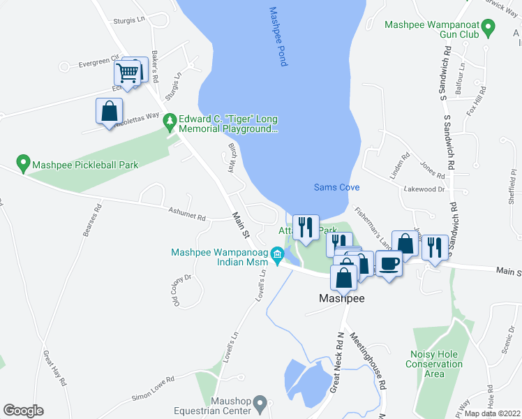 map of restaurants, bars, coffee shops, grocery stores, and more near 66 Redwood Circle in Mashpee