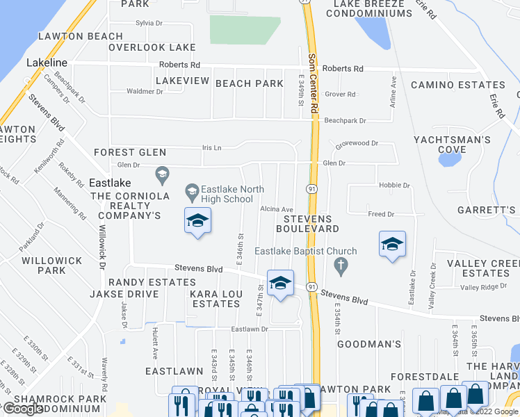 map of restaurants, bars, coffee shops, grocery stores, and more near East 347th Street in Eastlake