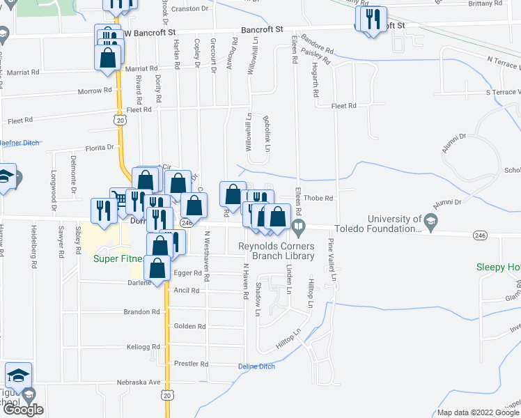 map of restaurants, bars, coffee shops, grocery stores, and more near 1599 Twin Oaks Drive in Toledo