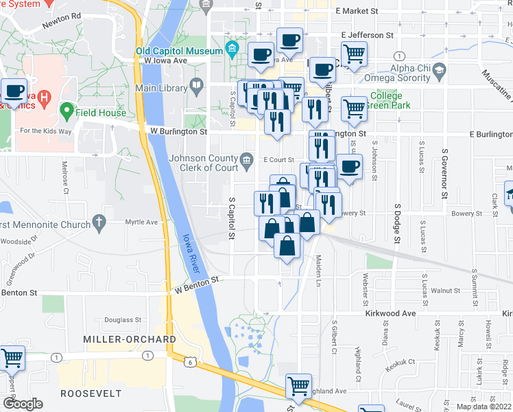 map of restaurants, bars, coffee shops, grocery stores, and more near S Clinton St & E Prentiss St in Iowa City