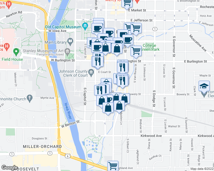 map of restaurants, bars, coffee shops, grocery stores, and more near 512 South Dubuque Street in Iowa City