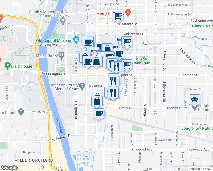 map of restaurants, bars, coffee shops, grocery stores, and more near E Court St & S Linn St in Iowa City