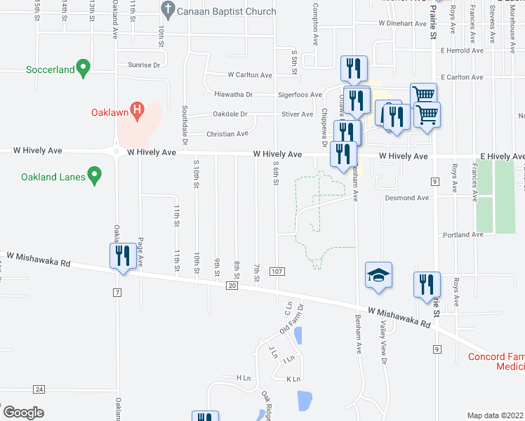 map of restaurants, bars, coffee shops, grocery stores, and more near 57660 7th St in Elkhart
