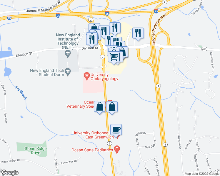 map of restaurants, bars, coffee shops, grocery stores, and more near 1404 South County Trail in East Greenwich