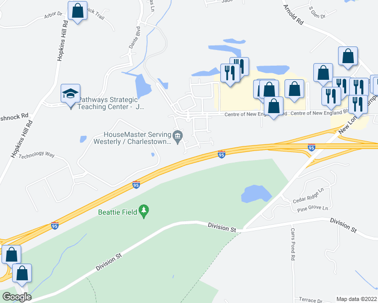 map of restaurants, bars, coffee shops, grocery stores, and more near 14111 Patriot Way in West Greenwich
