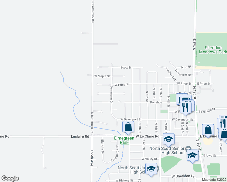 map of restaurants, bars, coffee shops, grocery stores, and more near 1080 Davies Court in Eldridge